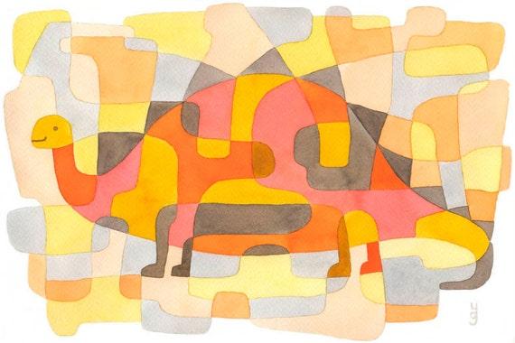 Big Nursery Art Print 'Dinosaur 2' Mid Century Modern Print Kids room wall pink yellow orange gray 11 x 16