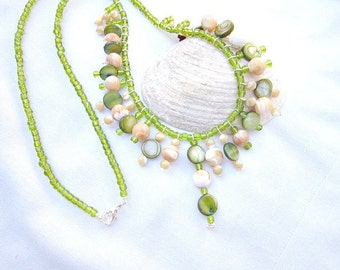 Green Charm Necklace,  Shell Charm Necklace, Shell Bead Necklace.  ID 267