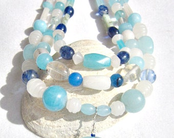 Triple Strand Necklace Aqua, Royal Blue and White Stone on a Silver Plated Cable Chain   ID 239