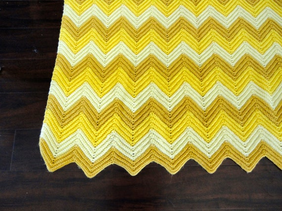 Vintage Knitted Chevron Zig Zag Blanket in Yellow Hues