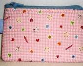 Lovely Bears and Bunnies Padded Zippered Pouch -- Pink