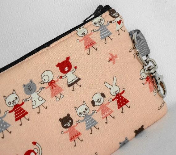 Large La Petite Ecole Padded Zippered Pouch (Kawaii U Gym Class) -- Pink w/Lobster Hook/Key Ring