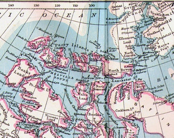 Canada Map Antique Copper Engraving North American Cartography 1892 Vintage Victorian Geography