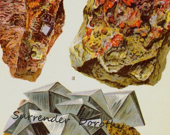 Niccolite Cinnabar Mispickel Arsenopyrite Ore Crystal Stone Mineral Vintage Lithograph Edwardian Geology Print To Frame 6