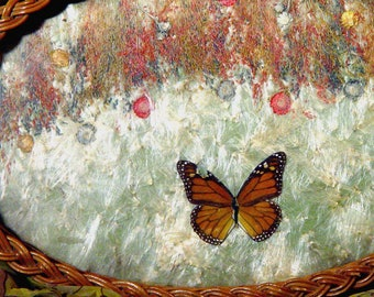 Wicker Tray Pressed Monarch Butterfly 1920s Vintage Hostess Bar Ware Serving Roaring Twenties