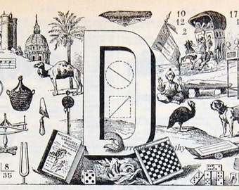 Letter D  French Dictionary Alphabet Chart Paris France To Frame Black & White Monogram