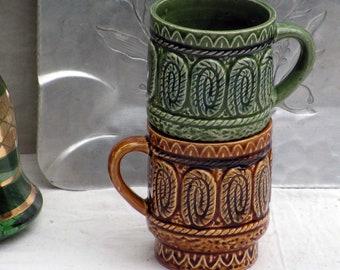 Japanese Mug Set Vintage 1960s Stacking Coffee Cups Mid Century Kitchen