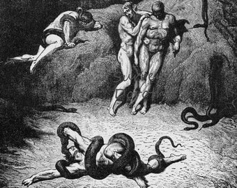 Agnello Transforming Into A Serpent Inferno Canto 26 Engraving Gustave Dore' Snake Hell
