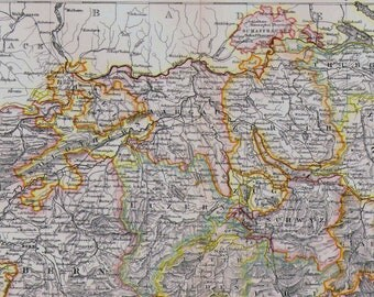 Switzerland Map Antique Aquatint Copper Engraving 1892 Vintage European Cartography Vintage Victorian Geography Art To Frame