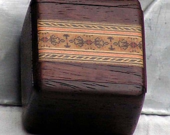 Postage Stamp Box Wood Marquetry Inlaid Vintage 1960s Home Office