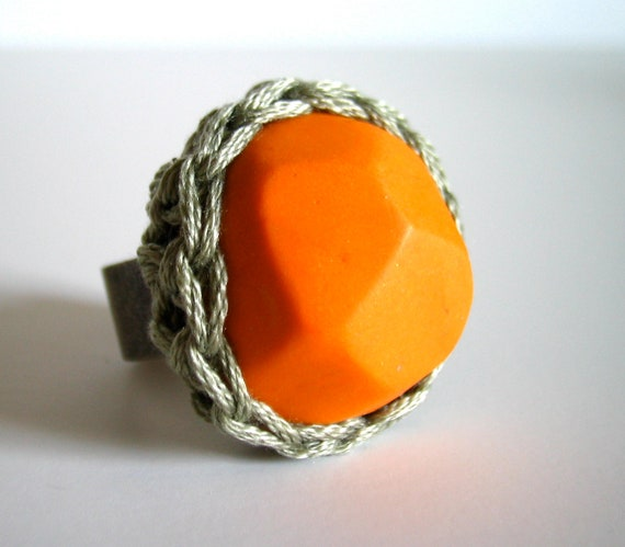 Ring - Pumpkin Orange Geometric Ring in with Crochet Bezel by Even Howard. Adjustable wide band easily fits 7-10. Chunky Cocktail ring.