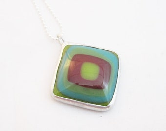 Mod Pendant | Fused Glass | Stained Glass | Ball Chain