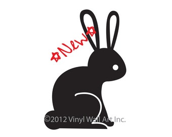 Woodland Rabbit Vinyl Wall Decal size MEDIUM