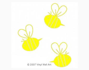 Bee Decals (Set of 3) size X-Large -  Bee Decor, Bee Wall Art, Bee Design, Nursery Bee, Nursery Design, Baby Bee, Child Design, Child Decor