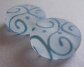 Lampwork Beads White Blue Handmade Glass Glowy Steel Lozenges (2)
