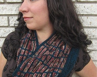 Saldana Cowl Striped Knitting Pattern Colorwork 3 Sizes Small, Med Large / 3 Yarn Weights