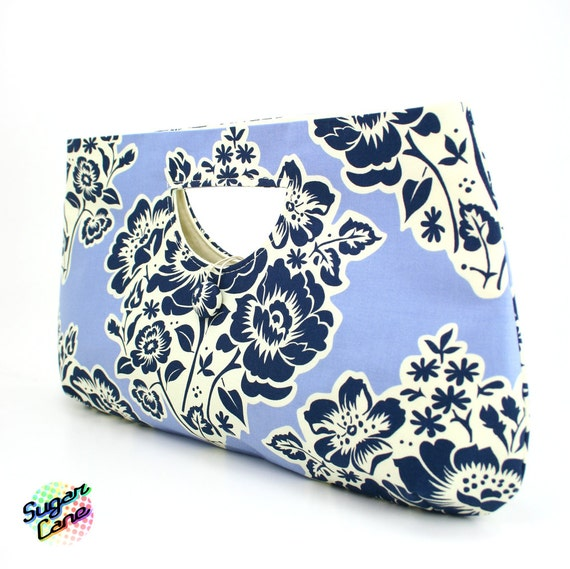 CLEARANCE SALE - Classic Clutch Bag :  Jardin Bluebell and Navy