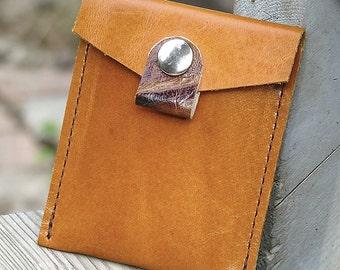 Leather Business Card Pocket Wallet - Burnt Orange