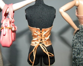 Underbust Silk Lace up Bustier Corset for Fashion Royalty, NuFace, Monogram, FR2, Barbie Doll