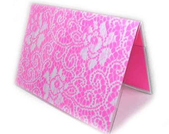 Passport Cover - Neon Lace - highlighter pink and white lace print passport holder - fluorescent pink