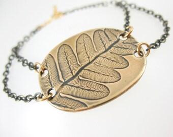 Fern Bracelet, Botanical Jewelry, Brass Bracelet