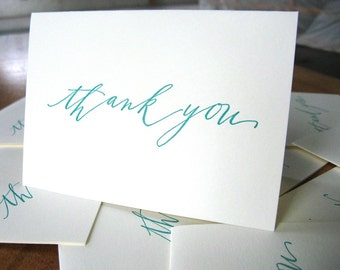 15-pack mega-deal Calligraphy emerald Thank You letterpress cards