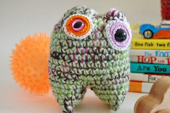 Watermelong Rind Crocheted Mini Monster Stuffed Plush