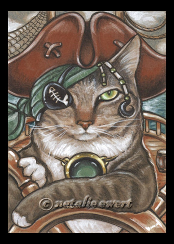 Pirate Cat 8 Signed Art Print -You Choose-2.5x3.5, 5x7 or 8x10 in., Spangled Breed Striped Ship Captain Hat Eye Patch Natalie Ewert
