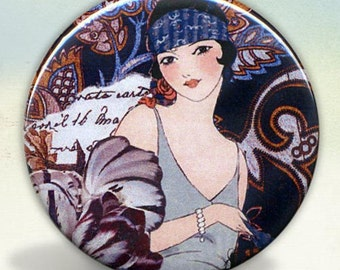 Flapper Deco Girl pocket mirror tartx