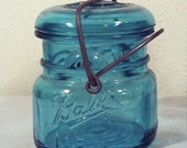 Vintage Small TURQUOISE BALL JAR / Blue Glass Canning Pickle Mason