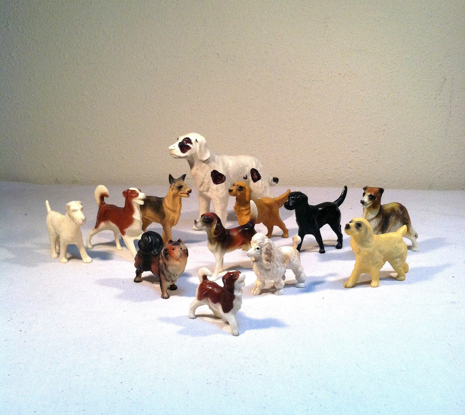 Fake Toy Dogs : Twelve tiny dogs vintage s plastic toy puppy figurines