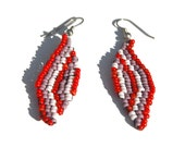 Opaque Red, Purple, and Pearly White Beadwoven Leaf Earrings