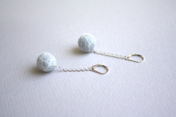 Felted Ball Earrings - Gray with White on Short Chain