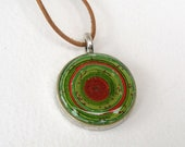 Red Green Necklace, Paper Spiral, Coiled Jewelry