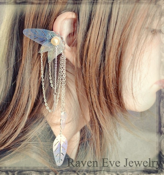 Enchanted Fairy Ear Cuffs Ornate Filigree with Chains and Vintage Sequins Two piece set