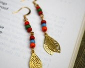 Gold Leaves and Rainbow Bead Earrings