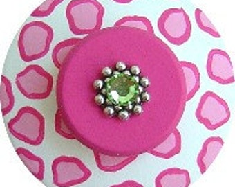Pink Cheetah With Green Swarovski Crystal Jeweled Hand Painted Wood Dresser Decorative Animal Print Furniture Nursery Room DrawerPull Knob
