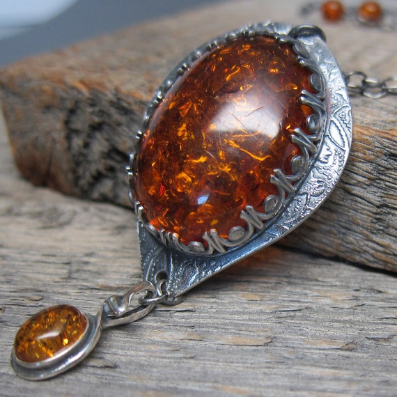 RESERVED Harvest Sun Necklace ... Fine Silver Scalloped Bezel with Dark Amber