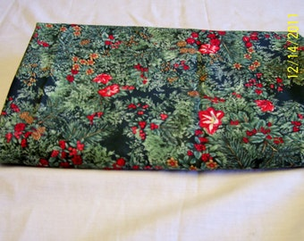 4 yards 44 inch wide red and green floral fabric