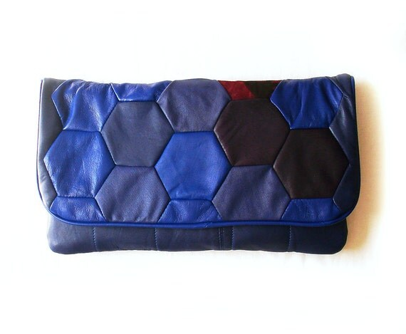 Daily Special SALE---HUGE purple leather honeycomb oversized Clutch
