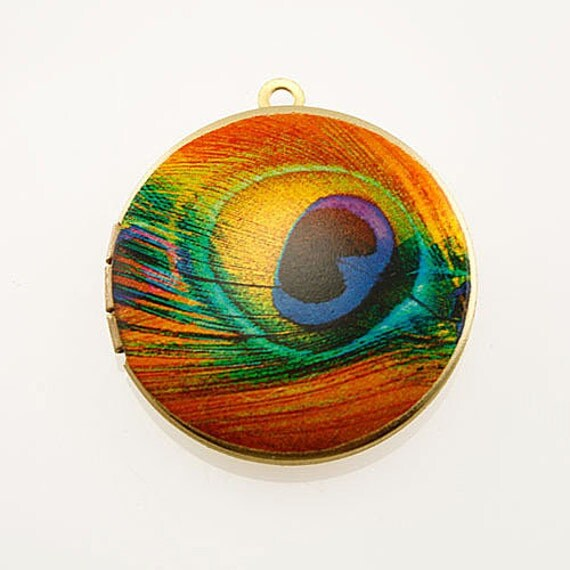 Photo Locket, Image Locket, Art Locket, Picture Locket, Brass Locket - PEACOCK - TANGERINE