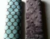 Car Seat Strap Covers - Reversible - Full Moon in Slate - Grey Minky Dot