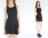 vintage 90s chevron rhinestone studded skater dress / black sheer mini dress