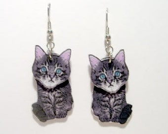 Handcrafted Plastic 3D Tabby Cat Kitten Dangle Earrings Made in USA