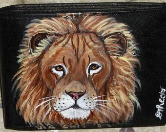Lion Hand Painted Leather Men's Wallet Black