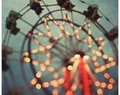 Fair Photograph - Ferris Wheel Photograph - Fine Art Photography - Summer - Fair - Lights - Original Art - Oversized Art - Blue - Starfall
