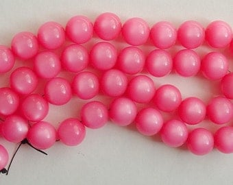 Bright Pink Lucite Moonglow 20 Inch Bead Strand