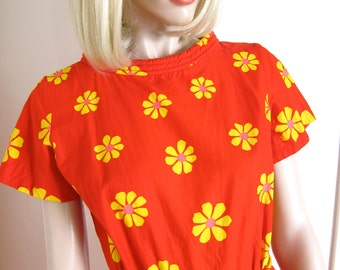 60s Swirl Wrap Dress Flower Power Vintage - Red - Yellow Neon Daisies - 1960s Rare Print  - S  M