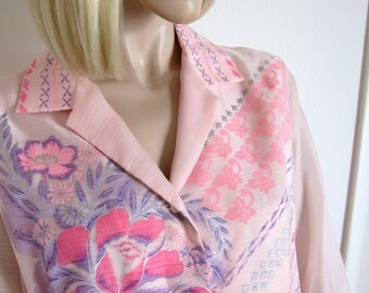 70s Shaheen Maxi Dress Vintage - Pink Purple & Lavender - Alfred Shaheen Hawaiian Screen Print - Sheer Sleeves  Hawaii California