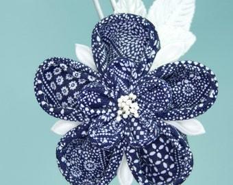 Navy Blue, White Upcycled Ume Flower Kanzashi OOAK Hairpin, Kimono Fabric, Homecoming, Wedding